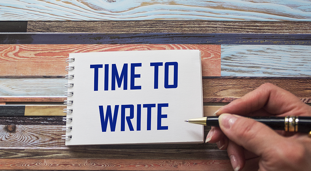 writing pad with words Time to Write